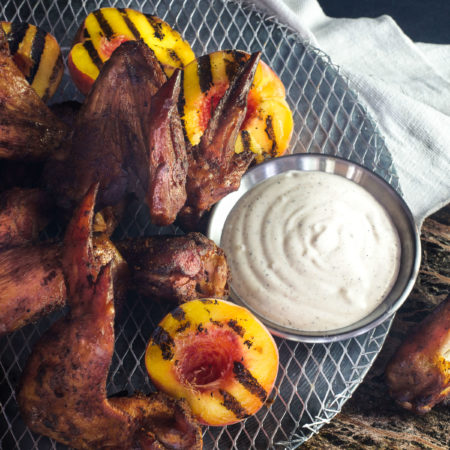 Chicken Wings with Alabama White Sauce and Grilled Peaches
