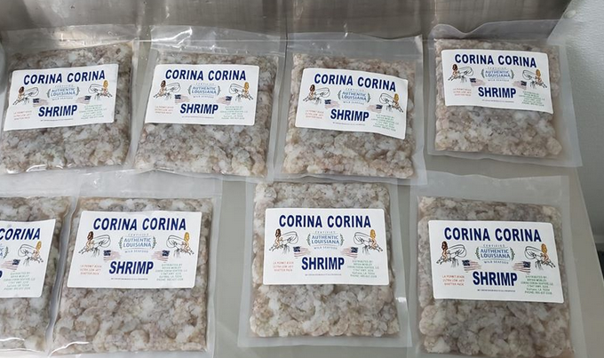 One-pound packs of flash-frozen shrimp to lock in the quality. (Photo credit: Internet archive)
