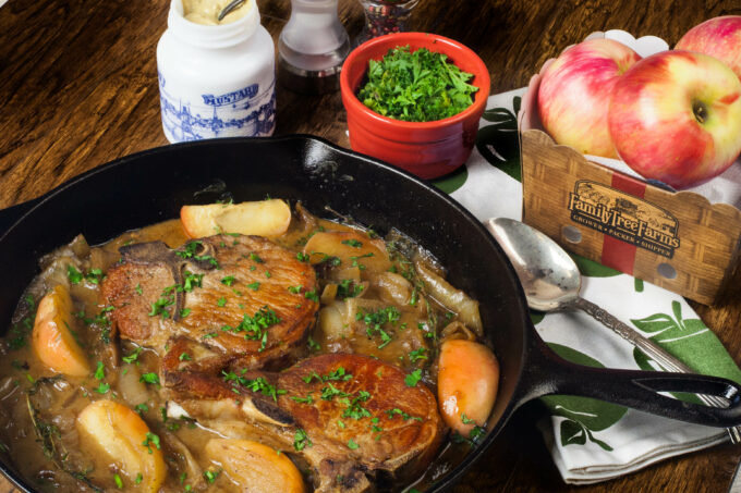 Apples and onions flavor these pork chops in a tasty black iron skillet classic combination. (All photos credit: George Graham)